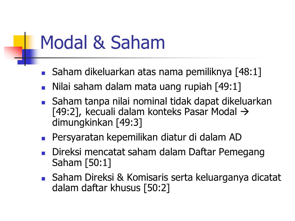 Modal & Saham Saham dikeluarkan atas nama pemiliknya [48:1]